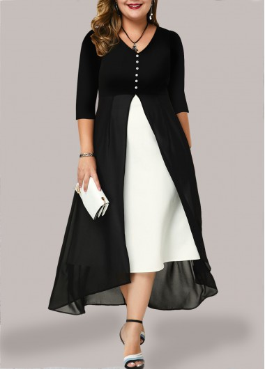 Women'S Black And White Chiffon V Neck Casual Dress Plus Size Color Block Three Quarter Sleeve Maxi Cocktail Party Dress By Rosewe - 1X
