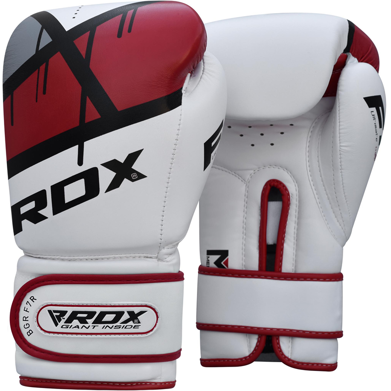 RDX F7 Red 16oz Boxing Training Gloves White Hook and Loop Men and Women Punching Muay Thai Kickboxing