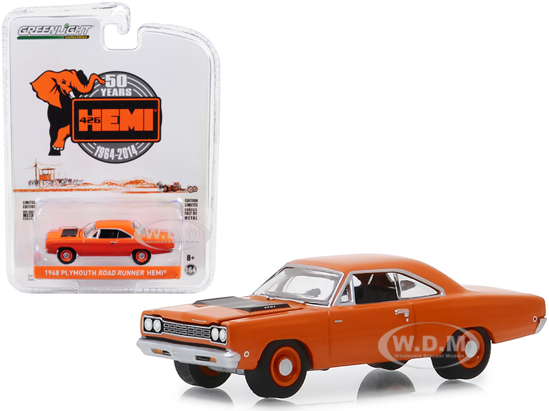 1968 Plymouth Road Runner HEMI 426 HEMI 50 Years (1964-2014) Orange Anniversary Collection Series 8 1/64 Diecast Model Car by Greenlight