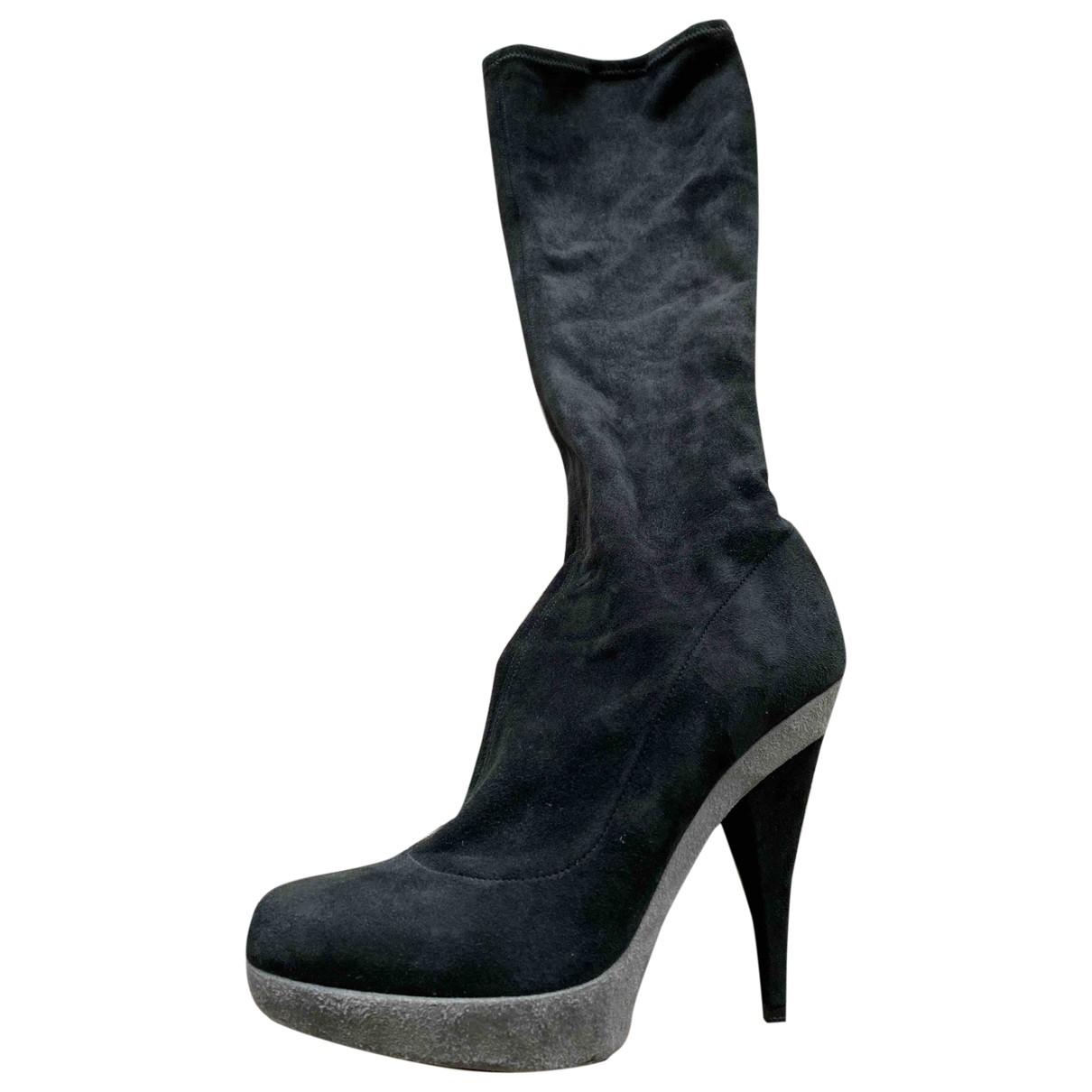 Dolce & Gabbana - Bottes   pour femme en suede - noir