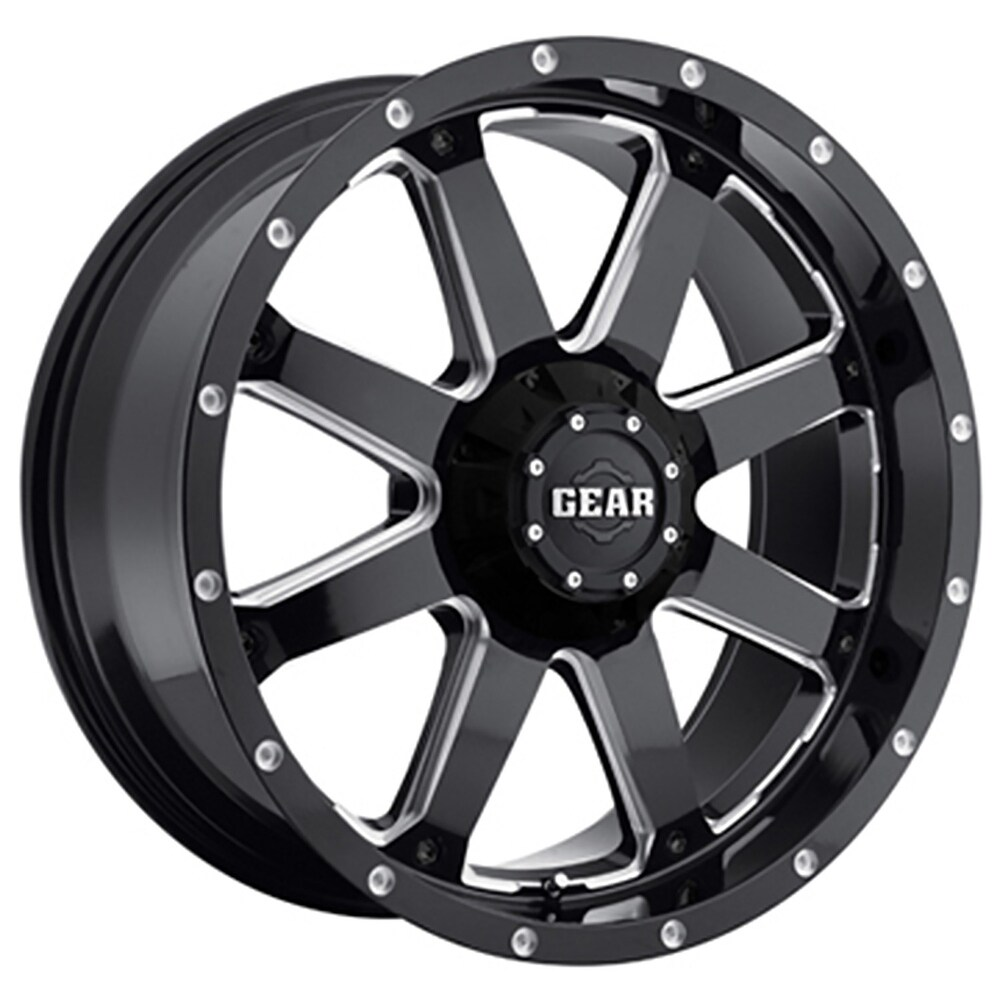 Gear Off Road 726mb big block 20x10 8x165.1 -19et 130.18mm gloss black with cnc milled accents wheel