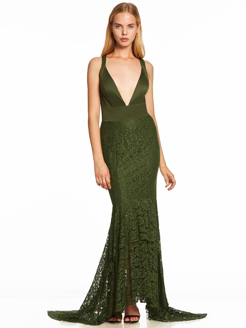 Ericdress V Neck Criss-Cross Straps Lace Mermaid Evening Dress