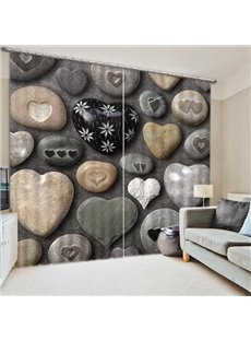 3D Stone Heart-Shaped Printed 2 Panels Living Room and Bedroom Blackout Curtain