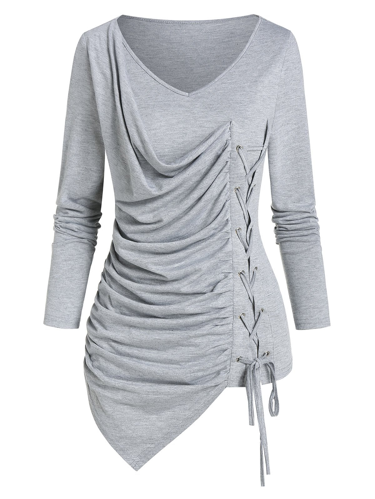 Plain V Neck Lace Up Asymmetrical T Shirt