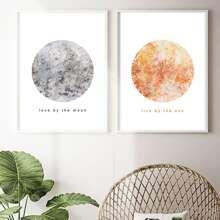 Pintura de arte con sol y luna sin marco 1 pieza
