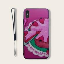 iPhone Schutzhuelle mit Erdbeere & Kuchen Muster & Tragegurt