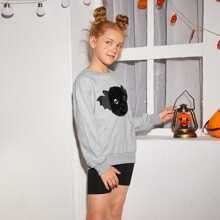 Pullover mit Kunstpelz, Fledermaus Stickereien und sehr tief angesetzter Schulterpartie