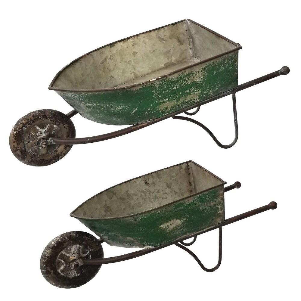 Alpine Corporation Green Rustic Wheelbarrow Garden Planter (Green)