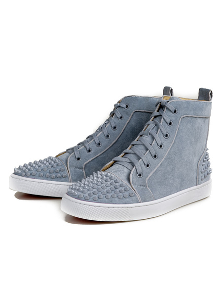 Milanoo Men Grey Sneakers Suede Leather Round Toe Rivets Lace Up High Top Skate Shoes