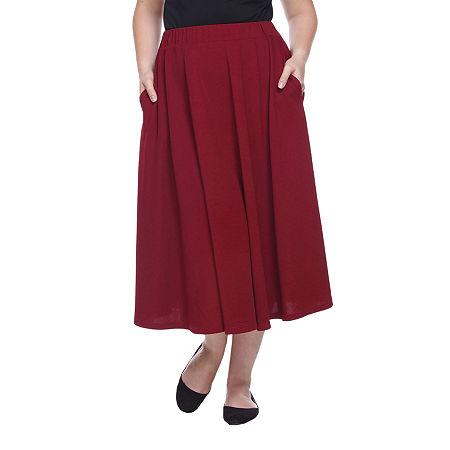 White Mark Tasmin Womens Stretch Midi Flared Skirt-Plus, 1x , Pink