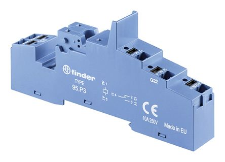 Finder Relay Socket, DIN Rail for use with 40.31 Relay, 86.30 Timer Module