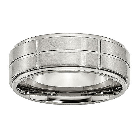 Personalized Mens 8mm Stainless Steel Wedding Band, 8 1/2 , No Color Family