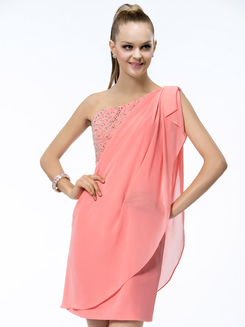 Ericdress Short One-Shoulder Beading Ruffles Sheath Cocktail Dress