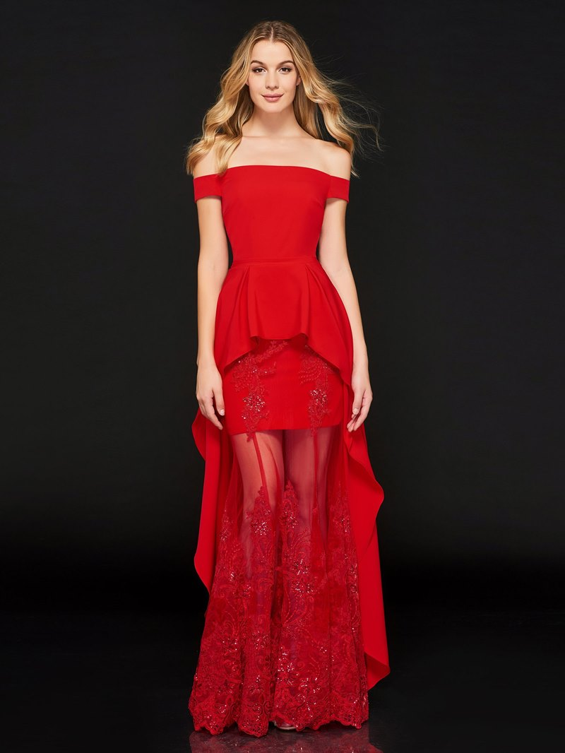 Ericdress A Line Off The Shoulder High Low Red Prom Dress