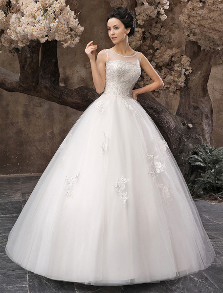 Milanoo White Ball Gown Jewel Neck Beading Floor-Length Bridal Wedding Dress