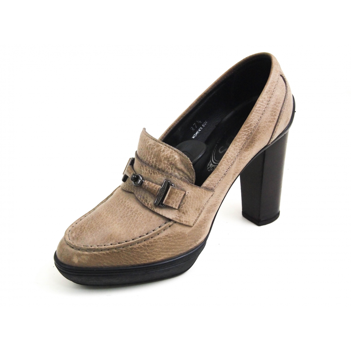 Tod's N Beige Leather Heels for Women 37.5 EU