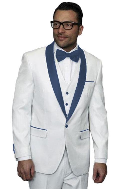 Mens Alberto Nardoni White Tuxedo Navy Blue Vested Wedding Prom Suit