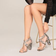 Square Toe Ring Strappy Snakeskin Heeled Sandals
