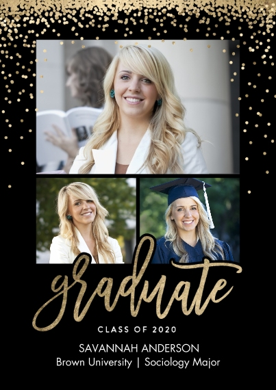 2020 Graduation Announcements Flat Glossy Photo Paper Cards with Envelopes, 5x7, Card & Stationery -Graduate 2020 Sparkles by Tumbalina