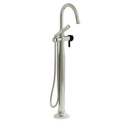 Momenti MMRD39JPNBK-EX 2-Way Thermostatic Coaxial Floor Mount Tub Filler with J Lever Handle and Hand Shower  in Polished