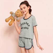 Conjunto de pijama de niñas ribete en contraste con estampado de slogan
