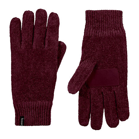 Isotoner Chenille Cold Weather Gloves, One Size , Purple