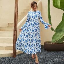 Floral Print Flounce Sleeve Dress