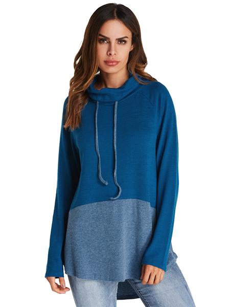 Yoins Kenoce Patchwork Drawstring Design Long Sleeves Hoodie