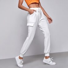 Drawstring Waist Patch Pocket Side Joggers