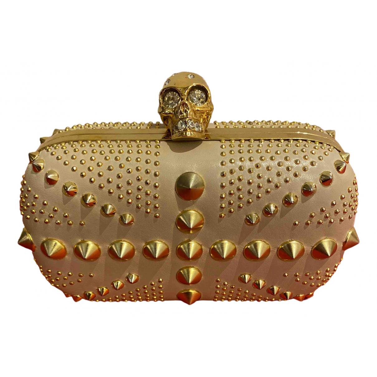 Alexander Mcqueen - Pochette Skull pour femme en cuir - beige