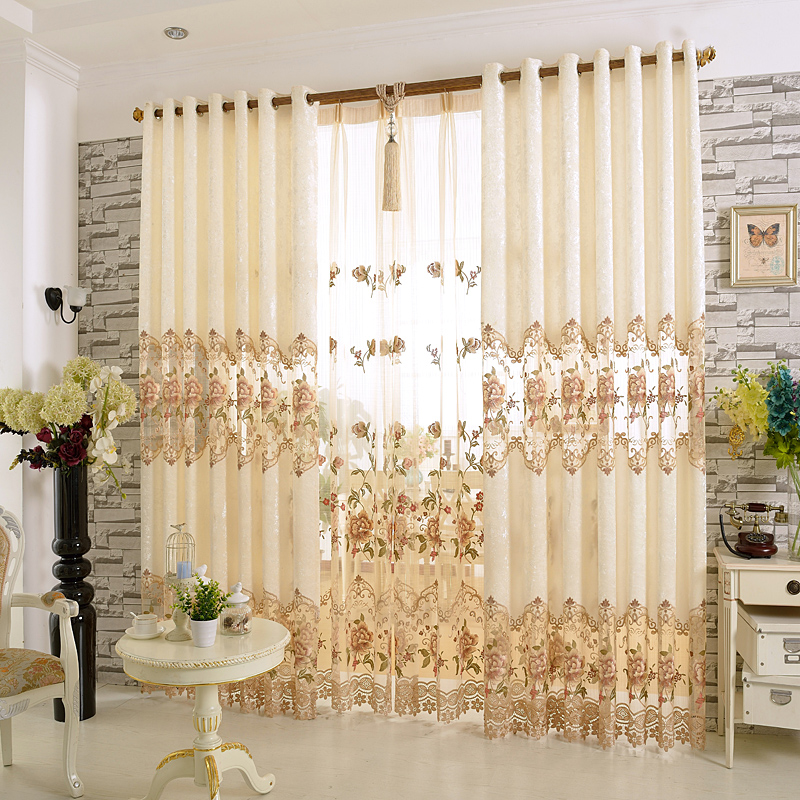 Elegant Hand-made Embroider Decorative Polyester Curtain