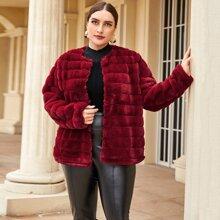 Plus Open Front Faux Fur Paneled Coat