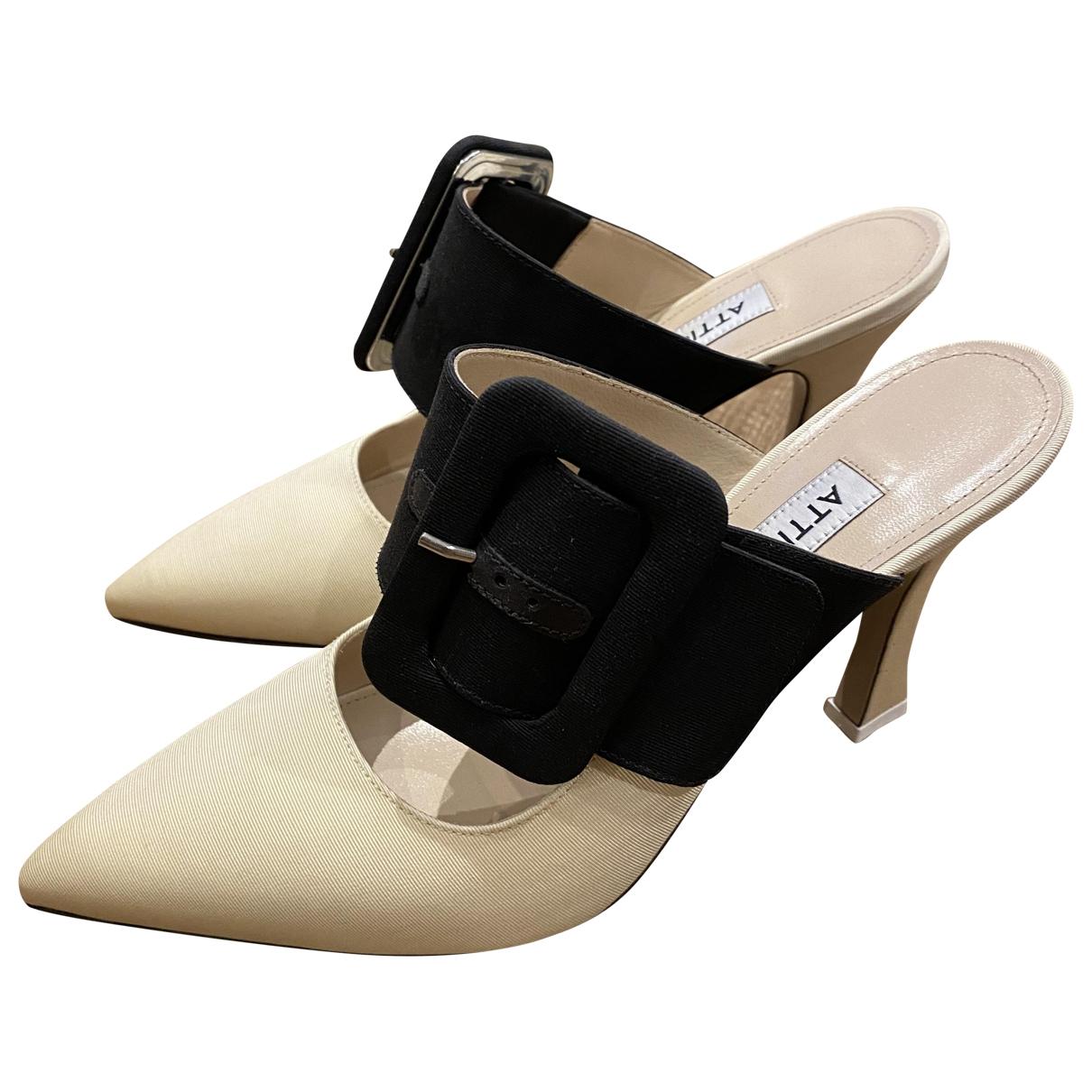 Attico - Sandales   pour femme en toile - ecru