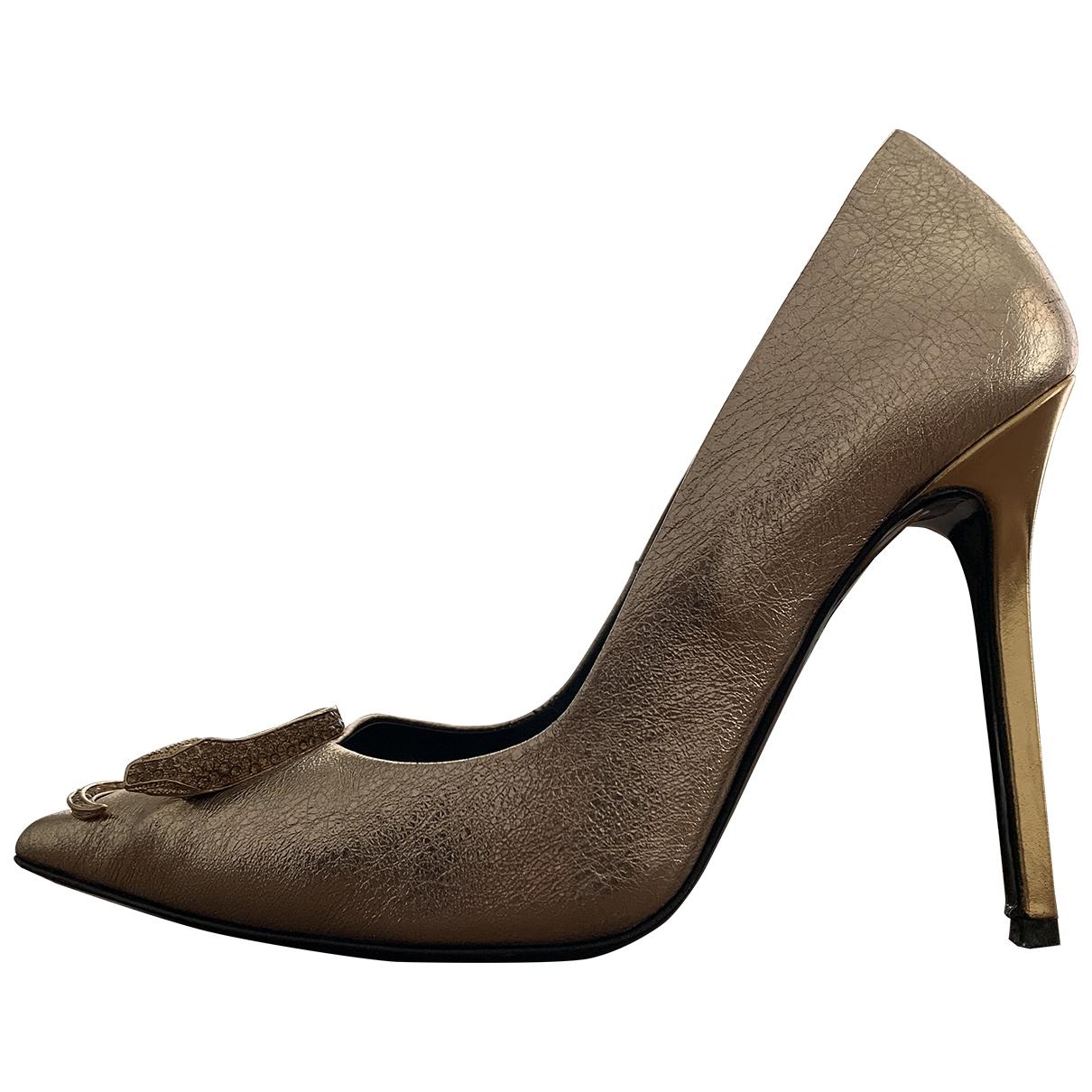 Class Cavalli - Escarpins   pour femme en cuir - dore