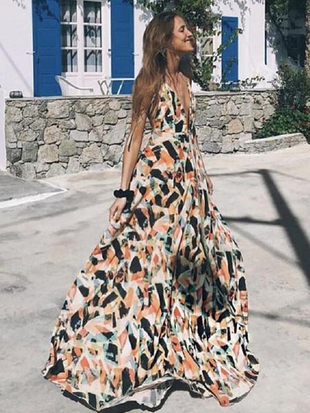 Milanoo Maxi Summer Dress Women Backless Sleeveless Geometric Print Long Dress