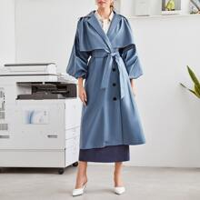 Single Breasted Bishop Sleeve Belted Trench Coat