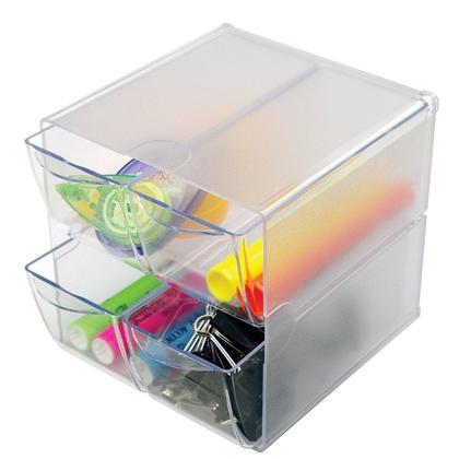 Deflecto® 4 tiroirs cube de rangement empilable, 6 x 6 x 7-1/5 po - Claire