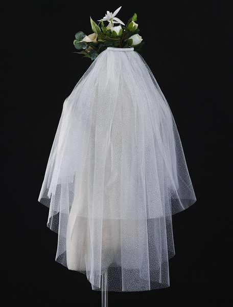Milanoo Wedding Veil Ivory Tulle 2 Tier Cut Edge Waterfall Bridal Veil