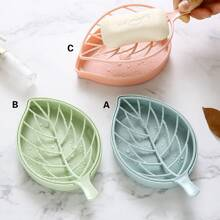 1pc Leaf Shaped Drain Soap Dish