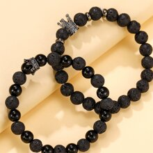 2pcs Simple Beaded Bracelet