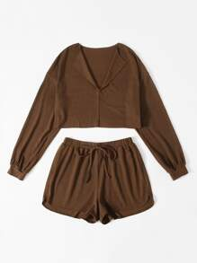 Collared Solid Crop Top & Tie Waist Shorts Set