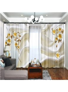 Decoration Noble Daisy 3D Printed 2 Panels Living Room and Bedroom Curtain