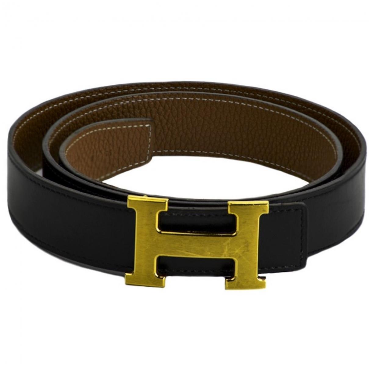 Hermes - Ceinture H pour femme en cuir - noir