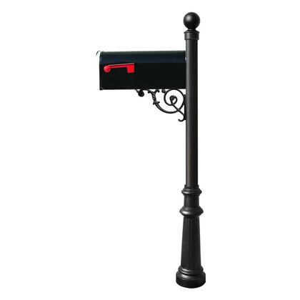 LPST-804-E1-BL Lewiston post system with E1 Economy mailbox  mounting plate  fluted base and ball
