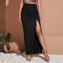 Drawstring Ruched Split Thigh Skirt