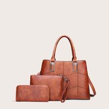 3pcs Stitch Detail Satchel Bag Set