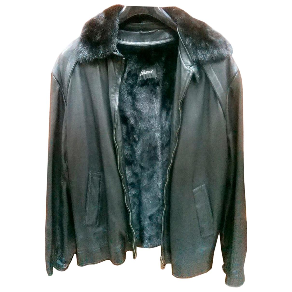 Brioni \N Black Leather jacket  for Men XXXL International