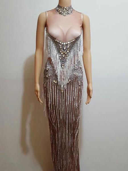 Milanoo Jazz Dance Costume Sexy Beading Tassels Dresses Women Nightclub Wear Halloween