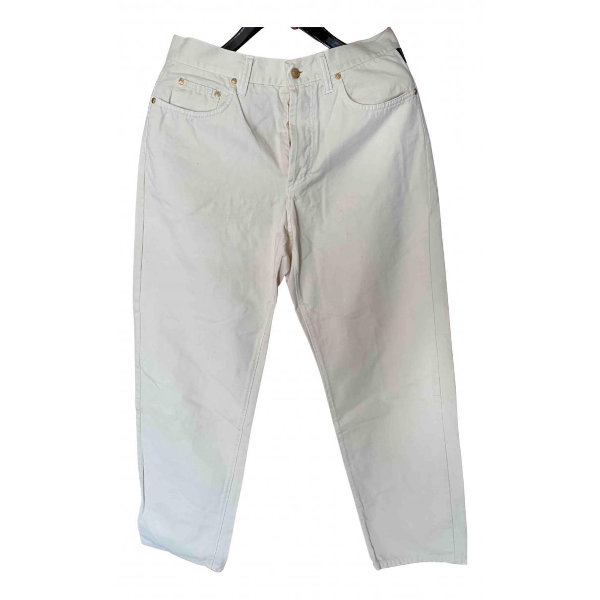 Pantalones en Algodon Beige Versace