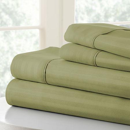 Casual Comfort Premium Ultra Soft Dobby Stripe Sheet Set, One Size , Green